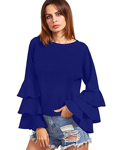 ZANZEA Women's LayeredRuffle Bell Long Sleeve Round Neck Vintage Loose Tops Blouse Blue US 6-8 (Bells Holiday Top)