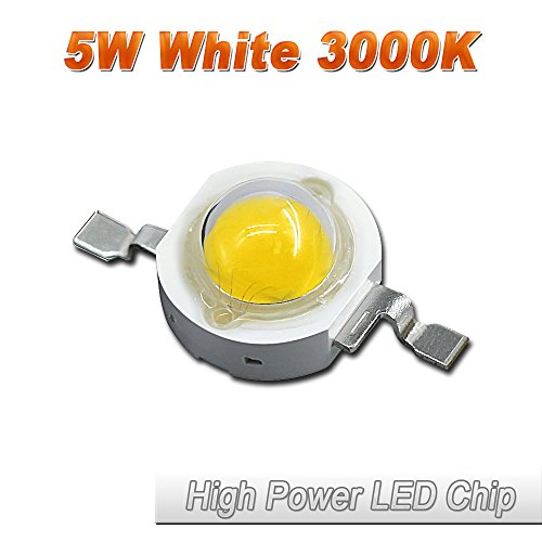 5 Chips Warm White Led - 10 Pcs Hontiey High Power LED Chip 5W Warm White Light 3000K-3500K Bulbs 5 Watt Beads DIY Spotlights Floodlight COB Integration Lamp SMD