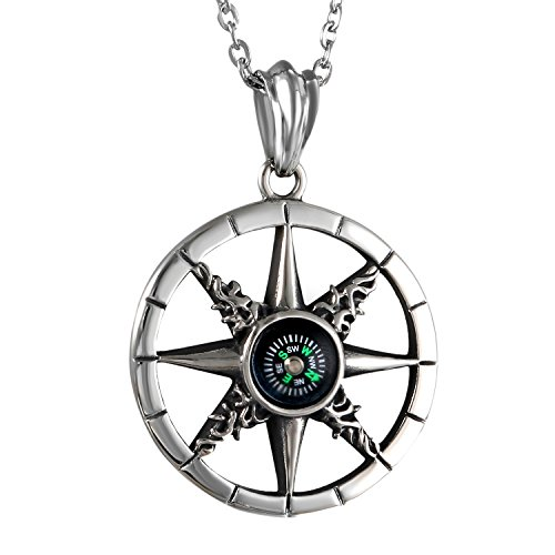 Stainless Steel Mens Class Hollow Compass Pendant Necklace,Chain Included