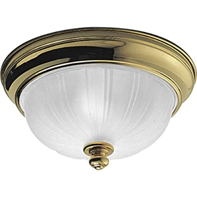 Progress Lighting P3732-10 Close-To-Ceiling Fixture with Satin Etched Glass, Polished Brass