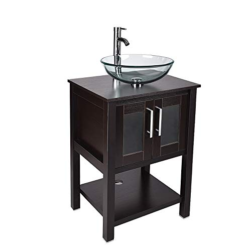24 Bathroom Vanity and Sink Combo – Traditional Vanity Cabinet with and Tempered Glass Vessel Counter Top Sink Basin Eco MDF Board Faucet Pop-up Drain Set Black Vanity Glass Sink