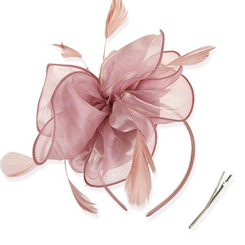 DRESHOW Fascinators Hat Tea Party Headwear Ribbons Feathers