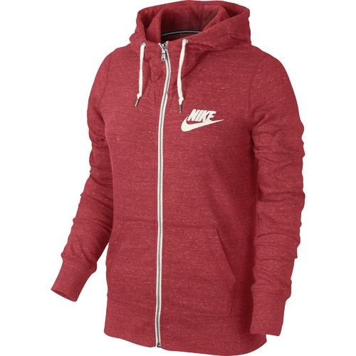 Nike Women's Gym Vintage Full-Zip Hoodie (Red Bright 01 , Large)