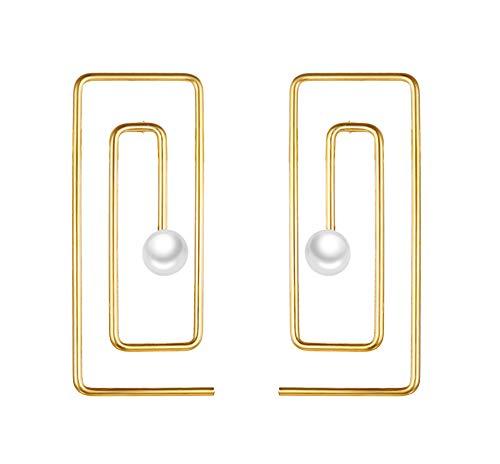 BEAUTY CHARM Paper Clip Earrings Gold Minimalist Geometric Line Square Swirl Wire Spiral Stud Earrings Stainless Steel Pearl Statement Earrings Studs for Women