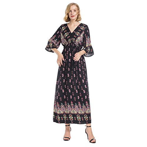 c93714db3f7 ... MCYs Frauen Ethno-Style Glockenhülse V-Ausschnitt Blumen Print Taille  Trompete Ärmel Maxi Kleid ...