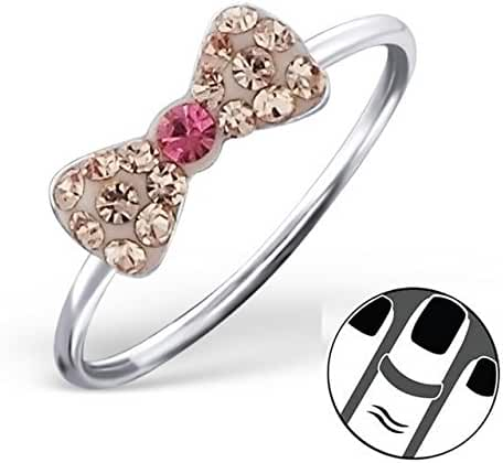 Pro Jewelry 925 Sterling Silver Bow w/ Pink and Peach Crystals Above Knuckle Ring Mid Finger Top 1511