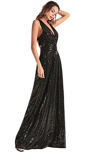 la de de fiesta FOLOBE lentejuelas vestido noche vestido Black de mujer ax6R6wHCq