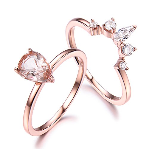 Pear Shape Pink Morganite Wedding Ring Set 925 Sterling Silver Rose Gold CZ Diamond Curved Stacking Ring by Milejewel Morganite Engagement Ring