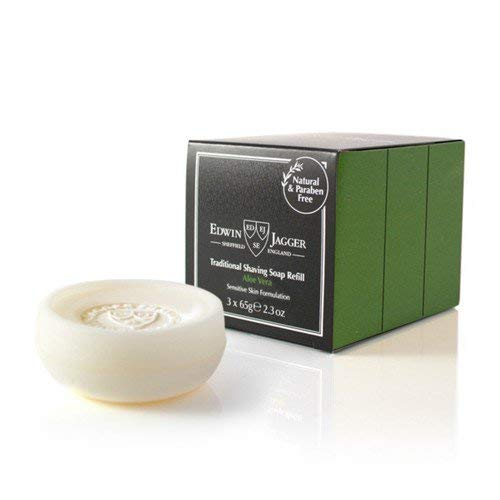 Edwin Jagger Aloe - Edwin Jagger Aloe Vera Traditional Shave Soap Refill 2.3oz Pack of 3