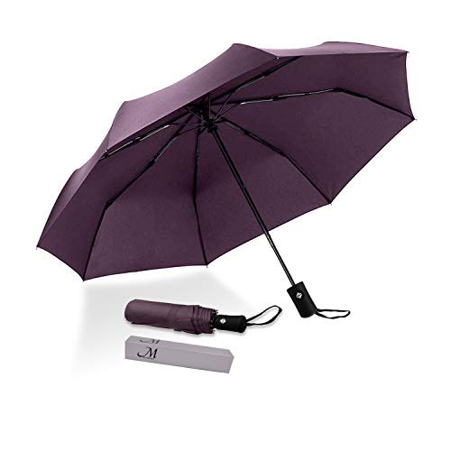 (Marriarics Compact Travel Rain Umbrella, Folding Lightweight Automatic Open and Close Umbrellas for Women Men,Portable Umbrella with Teflon Coating(Purple).)