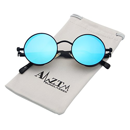 AMZTM Trend Fashion Goggles Retro Eyewear Glasses Frames Steampunk Small Round Mirrored Reflective REVO Lens Polarized Sunglasses For Women and Men (Black Frame and Ice Blue Lens, - Reflective Sunglasses Trend