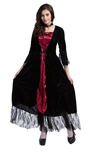 Honeystore Women's Adult Gothic Witch Costume with Lace Accent
