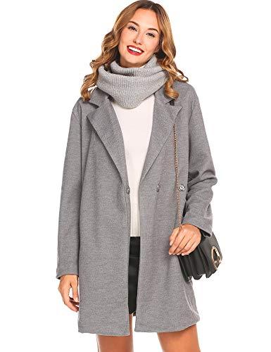 Wool Blend Coat Walking - EASTHER Women's Wool Blend Walking Coat Winter Pea Coat