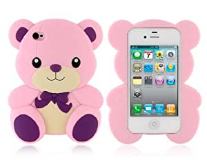 Cute 3D Bear Design PC Protective Case for iPhone 4 & 4S (Pink)