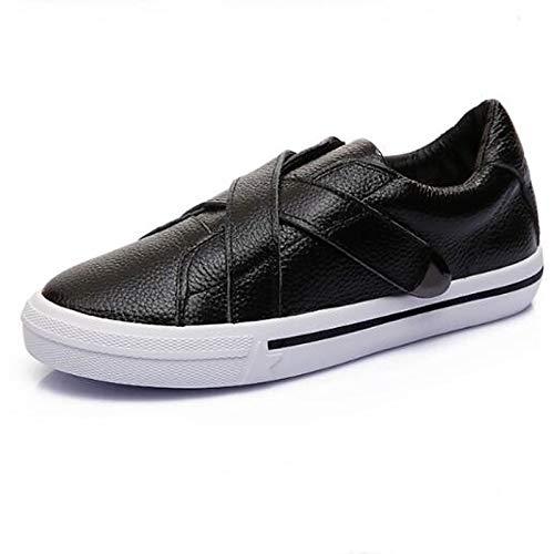 ZHZNVX Zapatos de Mujer Nappa Leather Spring/Summer Comfort Sneakers Flat Heel Cerrado del Dedo del pie Blanco/Negro Black