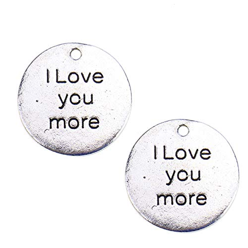 Monrocco 20 Pcs Antique Silver I Love You More Charms Round Inspirational Message Word Charms Pendant for Bracelets Jewelry Making