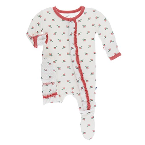 Kickee Pants Little Girls Print Muffin Ruffle Footie with Snaps - Natural Rose Bud, 18-24 Months