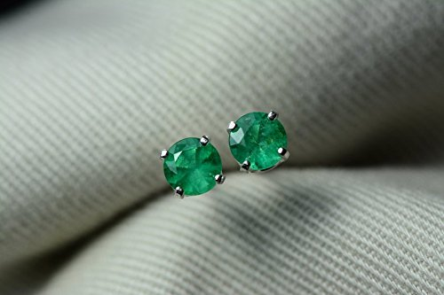 Round Colombian Emerald - 0.57 Carat Natural Colombian Round Cut Emerald Stud Earrings In Sterling Silver Appraised