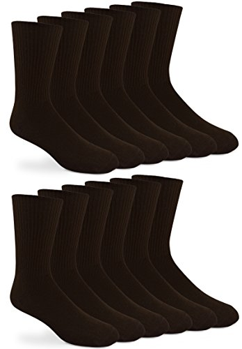 Jefferies Socks Mens Classic Casual Rib Dress Socks 12 Pair Pack (Sock Size 10-13 - Shoe Size 9-13, Dark Brown) (Classic Rib Sock Dress)