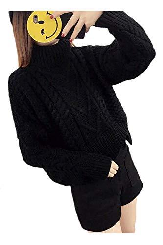Casual Di Da A Zhrui In Nero Pullover Alto Unica Maglioni Nero Donna Collo Maniche Dimensione colore Taglia Lana Pipistrello PHppvx5