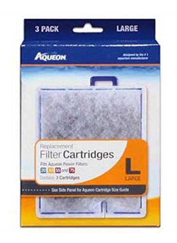 3-Pack AQUEON FILTER CARTRIDGE LARGE. FOR QUIET FLOW 20.30.50,55 & 75 FILTERS. - 3 Cartriges Total