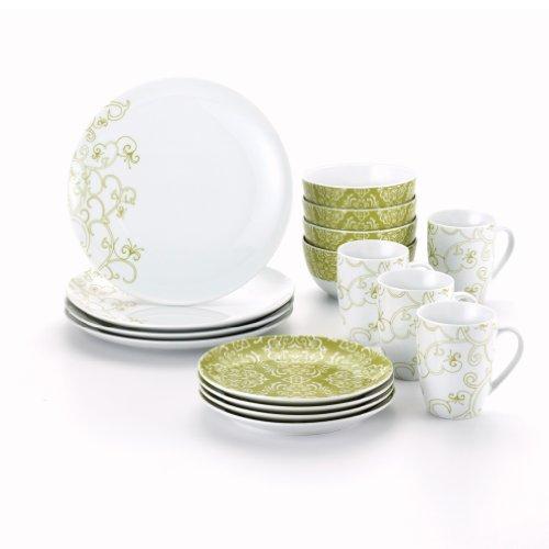 Rachael Ray Dinnerware Curly-Q 16-Piece Dinnerware Set, (Scroll 16 Piece Dinnerware Set)