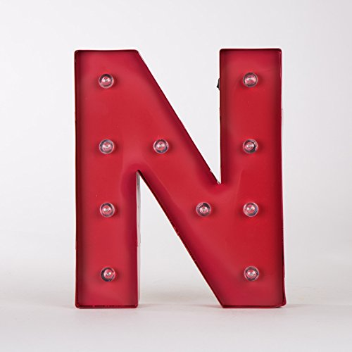 Glitzhome Vintage Marquee LED Lighted Letter N Sign Battery Operated Red