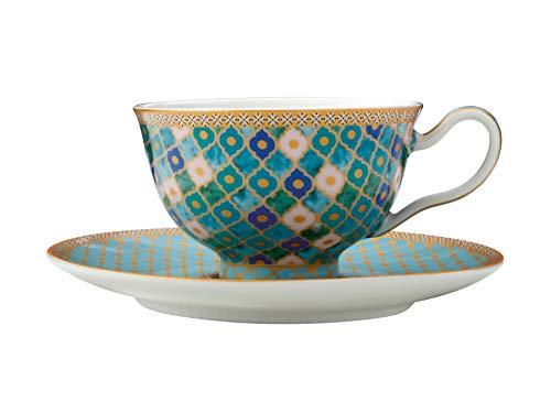 Maxwell & Williams Teas & C's Kasbah Juego de taza de te y platillo en caja de regalo, Porcelana, Menta