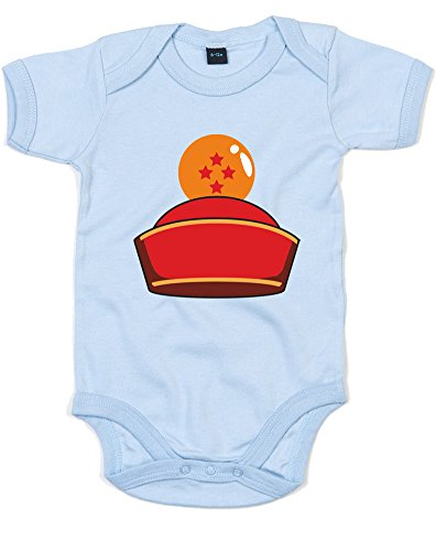 Dragon Ball Hat, Printed Baby Grow - Dusty Blue/Transfer 0-3 Months