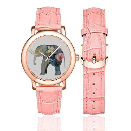 Elephant Correa de Cuero Reloj de Pulsera de Regalo para Mujer de Elefante Floral Reloj de Regalo para mamá: Amazon.es: Relojes