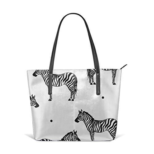 (Wild Animal Zebra Print Tattoo Women's Handbag PU Leather Tote Shoulder Bags Soft Hot)