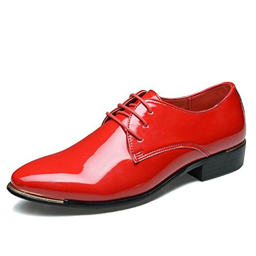 Mens Oxford Shoes-Lace Up Pointed Toe Wedding Business Dress Shoes