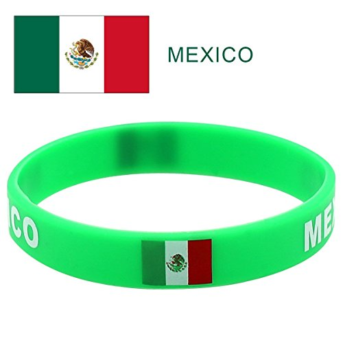 TDoperator Mexico Flag Silicone Bracelet FIFA World Cup 2018 For Soccer Fan, Unisex Design, Soft and Durable Wristband for National Football Supporters Fans, Fashion Sport Wrist Strap Souvenir Gift ()