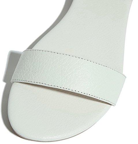 À Talon Femme Ouverture Bas Agoolar Gmbla012220 Couleur Blanc D'orteil Boucle Unie Sandales EF5WAUn