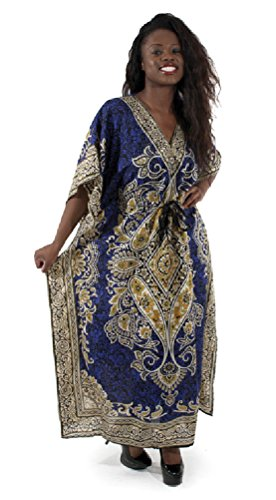 African Inspired Dresses (Batik Design Pull-String Rayon Caftan - Available in Several Colors -blue)
