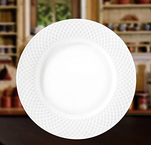 """Wilmax 10"""" Julia Collection White Porcelain Round Dinner Plate,Gift Box Set of 6"""