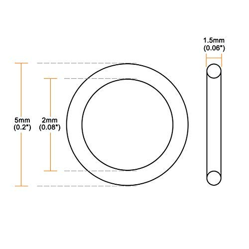 White Inner Diameter of 2 mm Sealing Gasket Silicone O-Rings of 5 mm Outer Diameter 10 Pieces Width 1.5 mm
