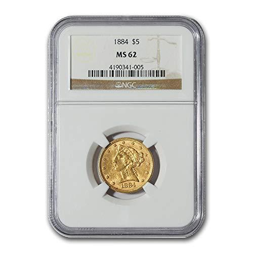 1884 $5 Liberty Gold Half Eagle MS-62 NGC G$5 MS-62 NGC