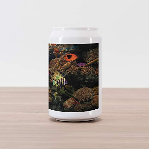 Lunarable Ocean Cola Can Shape Piggy Bank, Undersea Wildlife Environment with Colorful Sponge Corals Tropic Fishes, Ceramic Cola Shaped Coin Box Money Bank for Cash Saving, Brown Orange and Blue
