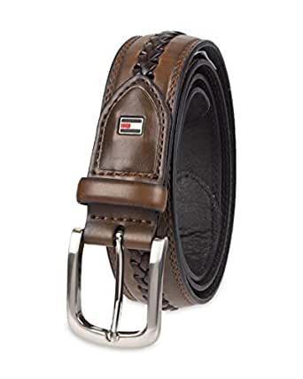 Tommy Hilfiger Men's Casual Belt - Fabric and Leather Strap with Classic Single Prong Buckle - Brown - 32