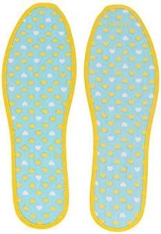 DealMux Mezcla del algodón de la superficie plana de las mujeres diseñan los zapatos Tamaño plantillas cojín Par UE 38 Amarillo Azul: Amazon.es: Belleza