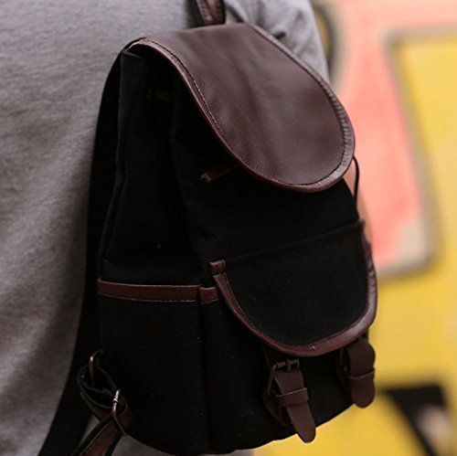 Canvas Leather Handmade Mini Backpack Casual Daypack for Ladies and Men