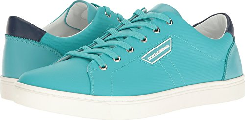 Dolce & Gabbana Men's London Rubberized Leather Sneaker Teal - Shop And Dolce London Gabbana