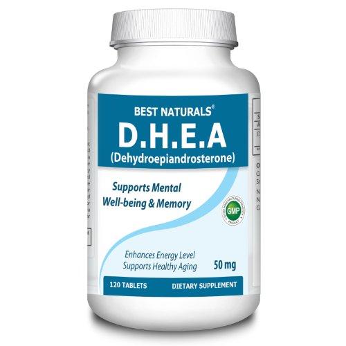 # 1 DHEA 50 mg 120 comprimés par Meilleures Naturals - Favorise un niveau d'hormone équilibré - fabriqué dans une usine certifiée GMP et USA Based tiers Testé pour la pureté. Garanti !!