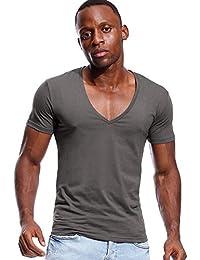Deep V Neck T Shirt for Men Low Cut Vneck Tee Invisible Tshirt Vee Top Scoop Hem