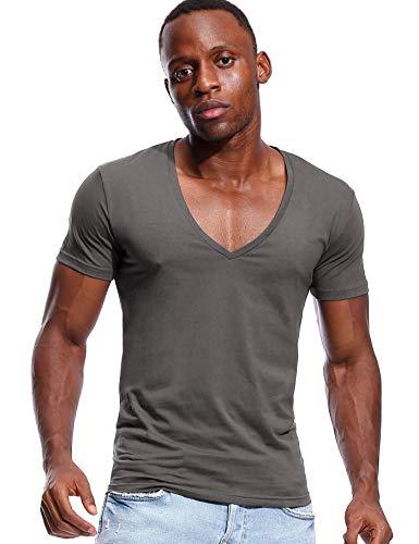 Deep V Neck T Shirt for Men Low Cut Vneck Invisible Tee Vee Top Dark Grey ()