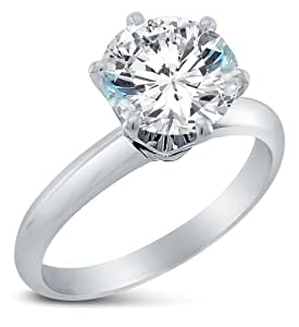 Size 4 - Solid 14k White Gold Classic Traditional Round Brilliant Cut Solitaire Highest Quality CZ Cubic Zirconia Engagement Ring 1.0ct.