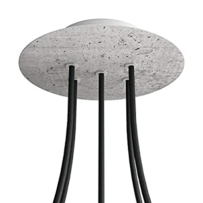 5 Holes - Large Round Ceiling Canopy Kit - Rose One System - Concrete