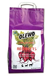 Olewo Red Beets Allergy Dog Food Supplement, controls dog skin allergies and itching with natural detoxification and anti-inflammatory support, adds natural source vitamins to any dog food to promote overall health, 1-ingredient, non-GMO product, Made in