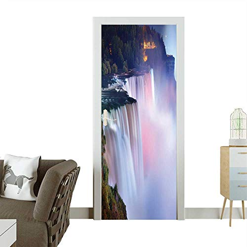 Homesonne Door Sticker Wallpaper Niagara Falls lit at Night by Colorful Lights Fashion and Various Pattern W23 x H70 INCH -